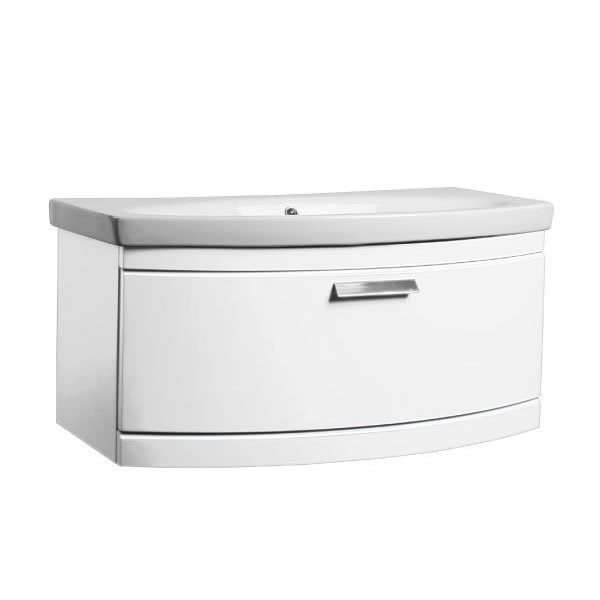 Tavistock Tempo Vanity Wall mounted Basin 900mm Gloss White