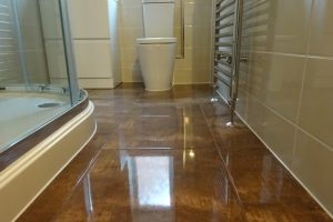 Johnson Tiles Zeppelin Bronze Floor tile fitted in Shower Room