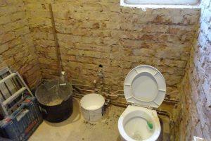 Bathroom back to brick