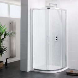 Single Door 8mm Quadrant shower enclosure with stone resin shower tray