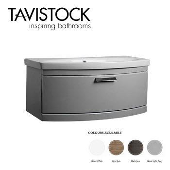 Tavistock Tempo Vanity Wall mounted Basin 900mm Gloss Grey