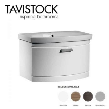 Tavistock Tempo Vanity Wall mounted Basin 650mm Gloss White