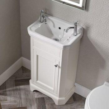 Tavistock Vitoria 500 Freestanding Vanity Basin Unit Linen White