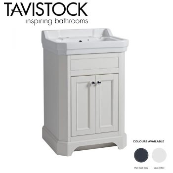 Tavistock Vitoria 600mm Freestanding Basin Vanity Unit Linen White