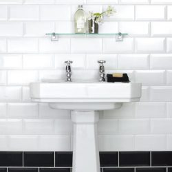 Metro Victorian Style Tile Ceramic Bathroom wall tiles 10cm by 20cm in gloss white