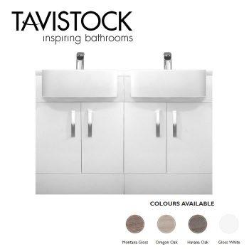 tavistock courier double basin unit gloss white