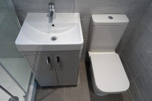 Ensuite in Coventry with vanity basin toilet and shower