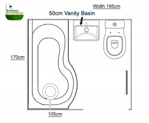 Bathroom design with 75cm P Shaped shower bath and 50cm vanity basin and close coupled toilet