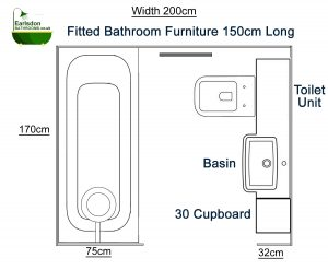 Bathroom design with 70cm straight bath, 150cm fitted bathroom furniture with toilet, basin and 30cm cupboard unit