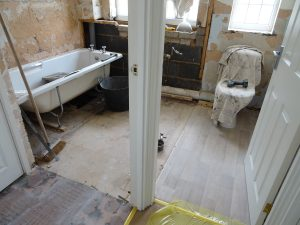 Bathroom and toilet dividing wall removed