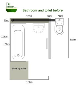 Bathroom with separate bathroom and toilet
