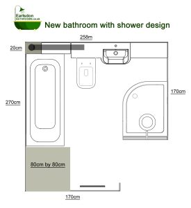 Large Bathroom with bath and separate shower enclosure
