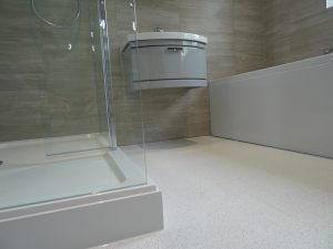 Bathroom Fitted in Coventry with White Quartz Floor