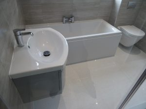 Bathroom with Trojancast Elite double ended bath