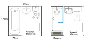 Drawing of agreed bathroom drawing solution from Earlsdon Bathrooms