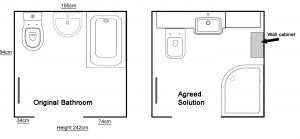 Original Bathroom layout and agreed shower room solution