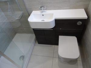 Tavistock Match Vanity unit in Tundra wood basin and toilet unit