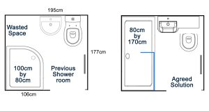 New agreed walk in shower room solution