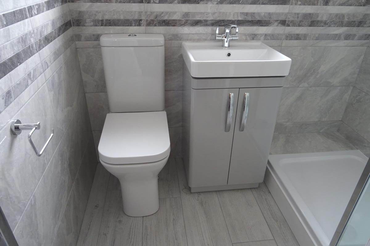 Walk In Shower Room With Grey Tiles
